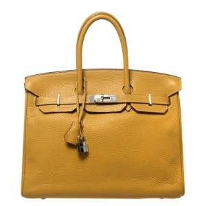 Hermes Curry Clemence Leather Palladium Hardware Birkin 35