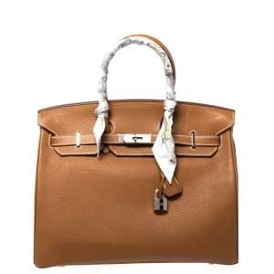 Hermes Gold Taurillion Clemence Leather Palladium Hardware Birkin 35 Bag