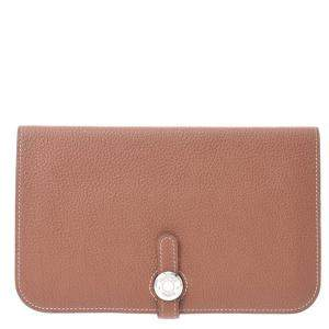 Hermes Brown Togo Leather Dogon Wallet
