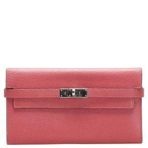 Hermes Pink Chevre Leather Kelly Longue Wallet