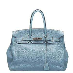 Hermes Blue Togo Leather Birkin 35 Bag