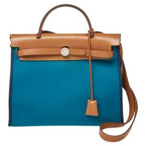 Hermes Bleu Izmir/Natural Canvas And Leather Herbag Zip 31 Bag