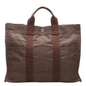 Hermes Brown Canvas Herline MM Tote Bag