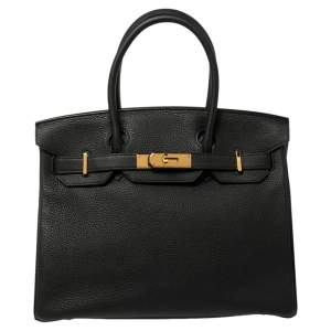 Hermes Noir Togo Leather Gold Hardware Birkin 30 Bag
