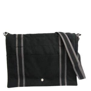 Hermes Black Canvas Fourre Tout Besace MM Messenger Bag