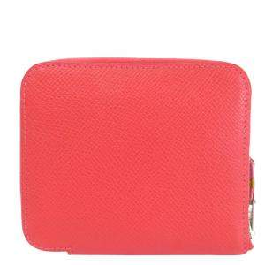 Hermes Red Epsom Leather Azap Silk'In Bi-Fold Wallet