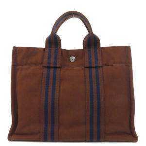 Hermes Brown Canvas Fourre tout PM Tote Bag