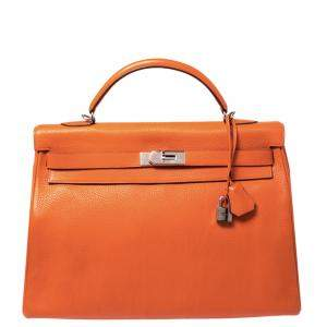 Hermes Orange Clemence Leather Palladium Hardware Kelly Retourne 40 Bag