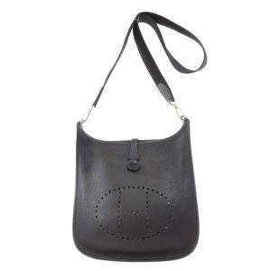 Hermes Black Clemence Leather Evelyne I PM Bag