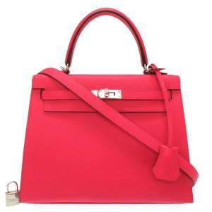 Hermes Red Epsom Leather Kelly Sellier 25 Bag