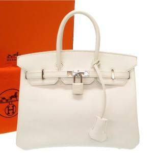 Hermes White Epsom Leather Birkin 25 Bag