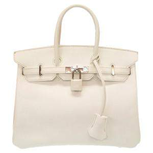 Hermes White Epsom Leather Palladium Hardware Birkin 25 Bag