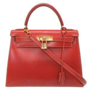 Hermes Kelly 28 Outer Sewing Box Calf Brick Gold Hardware Brown Shoulder Bag