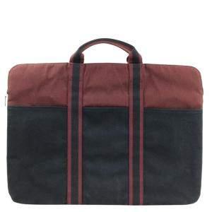 Hermes Blue/Brown Canvas Fourre Tout Portfolio Bag