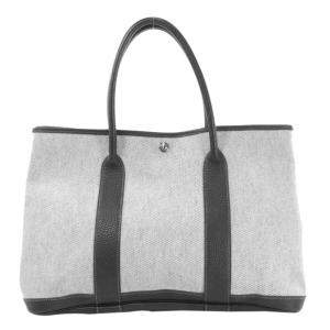 Hermes Black/Off White Toile and Negonda Leather Garden Party Bag