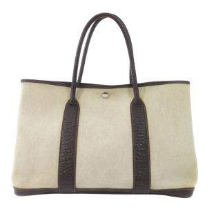 Hermes Cream Toile Canvas Garden Party PM Bag