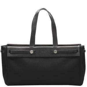 Hermes Black Toile Canvas Herbag Cabas MM Bag