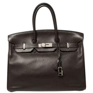 Hermes Cacao Clemence Leather Palladium Hardware Birkin 35 Bag
