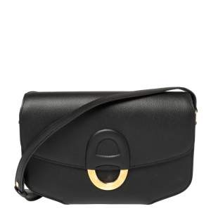 Hermes Black Epsom Leather Gold Hardware Cherche Midi 25 Bag