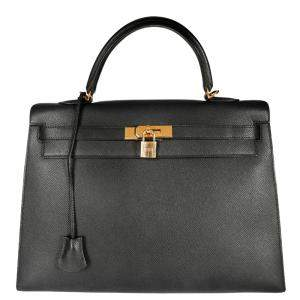Hermes Black Epsom Leather Kelly 35 Bag