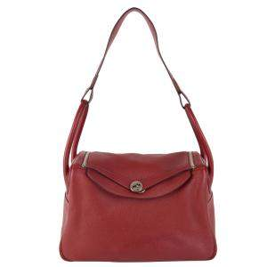 Hermes Red Clemence Leather Lindy 34 Bag