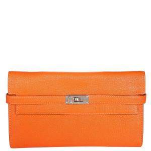 Hermes Orange Chevre Mysore Leather Kelly Wallet