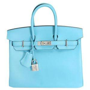Hermes Bleu Du Nord Swift Leather Palladium Hardware Birkin 25 Bag