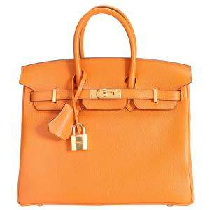 Hermes Orange Taurillon Novillo Leather Gold Hardware Birkin 25 Bag