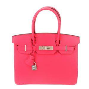 Hermes Red Epsom Leather Palladium Hardware Birkin 30 Bag