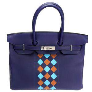Hermes Blue Swift Leather Limited Edition Tressage Palladium Hardware Birkin 35 Bag