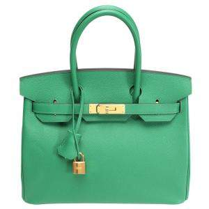 Hermes Green Epsom Leather Gold Hardware Birkin 30 Bag