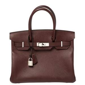 Hermes Bordeaux Epsom Leather Palladium Hardware Birkin 30 Bag