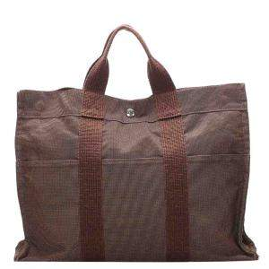 Hermes Brown Canvas Herline MM Tote Bag