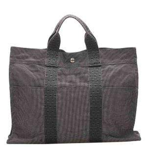 Hermes Grey Canvas Fourre Tout Bag