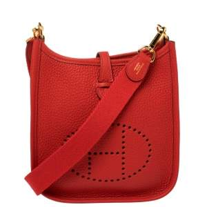 Hermes Rouge Tomate Clemence Leather Evelyne TPM Bag