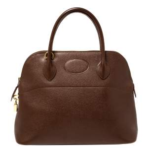 Hermes Chocolat Courchevel Leather Bolide 31 Bag