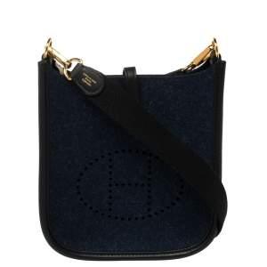 Hermes Blue Nuit/Black Feutre and Swift Leather Evelyne TPM Bag