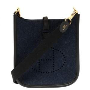 Hermes Blue Nuit/Black Feutre and Swift Leather Evelyne I TPM Bag