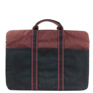 Hermes Red/Black Canvas Fourre Tout Briefcase