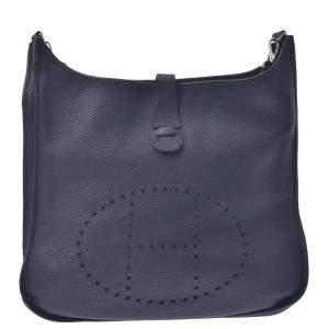 Hermes Black Clemence Leather Evelyne III TGM Shoulder Bag