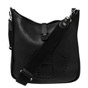 Hermes Black Togo Leather Evelyne III GM Bag