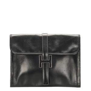 Hermes Black Jige GM Leather Clutch Bag