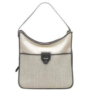 Hermes White Toile Canvas Sac Jumping Bag