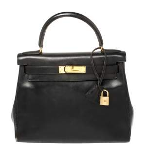 Hermes Black Box Calf Leather Gold Hardware Kelly Retourne 28 Bag