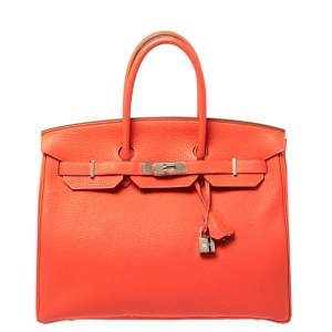 Hermes Rouge Pivoine Togo Leather Palladium Hardware Birkin 35 Bag