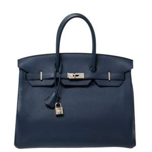Hermes Blue Sapphire Clemence Leather Palladium Hardware Birkin 35 Bag