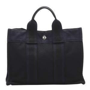Hermes Black Canvas Fourre Tout PM Bag