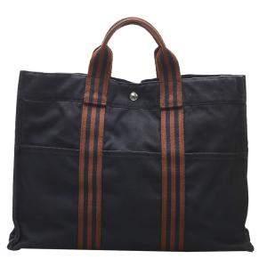 Hermes Black Canvas Fourre Tout MM Bag