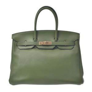 Hermes Green Swift Leather Birkin 35 Bag