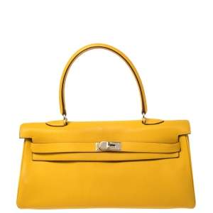 Hermes Jaune Ambre Togo Leather Palladium Hardware Shoulder Kelly 42 Bag